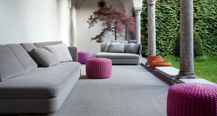 salon traido exterior muebles alfombra ideas
