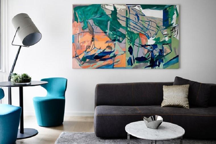 salon decorado cuadro precioso sillones turquesa ideas