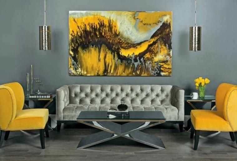 salon decorado modernos amarillo sillones cuadro ideas