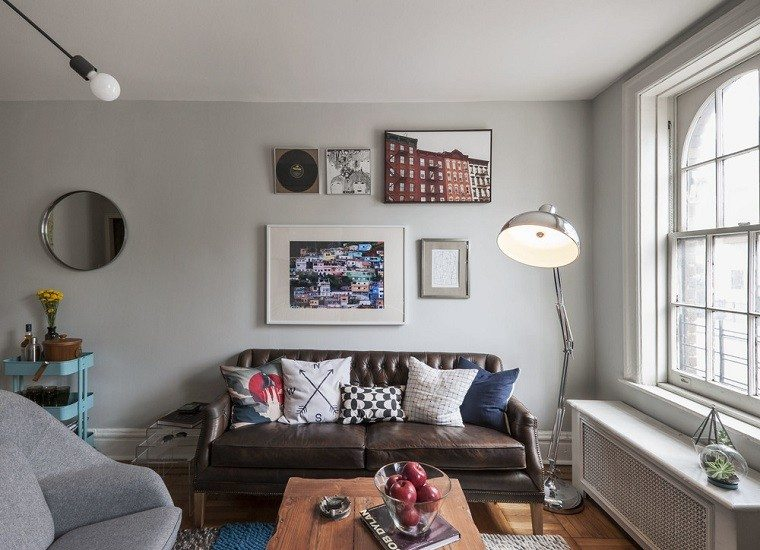salones decorados modernos cuadros espejo pared ideas