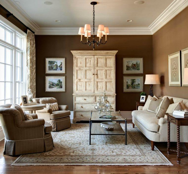 salon decorado modernos marron cuadros ideas