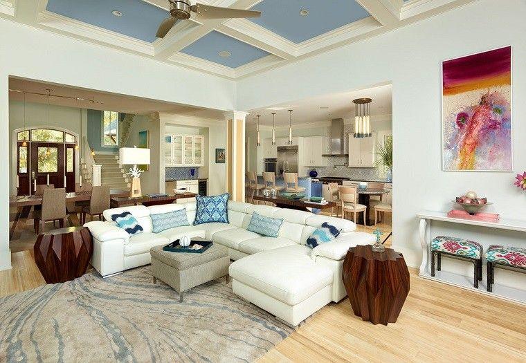 salon decorado modernos mesas madera ideas - Imagenes De Salones Decorados