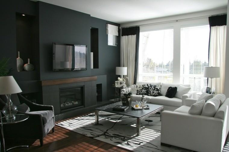 salon decorado modernos pared negra-muebles blancos ideas