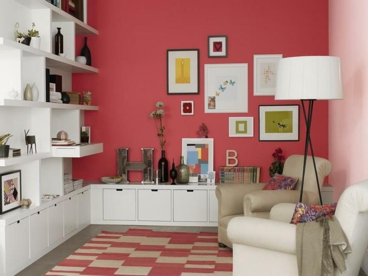 salon decorado modernos pared roja cuadros ideas