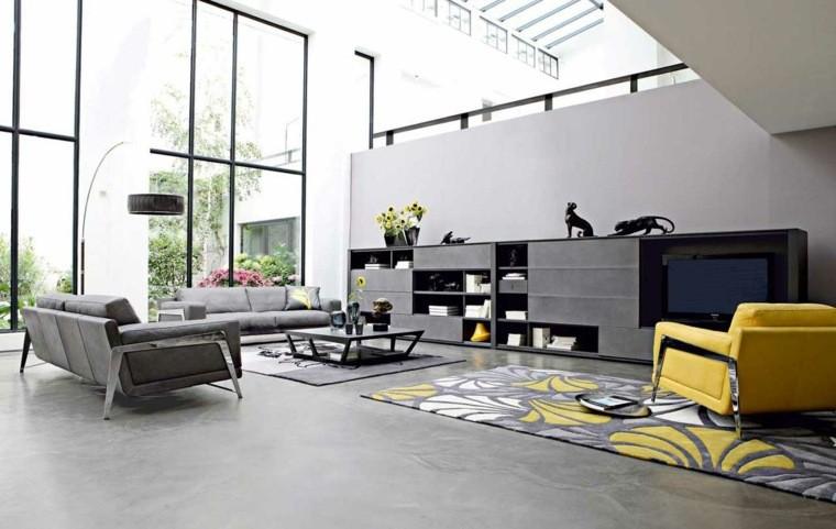 salon decorado modernos sillone amarillo destaca ideas