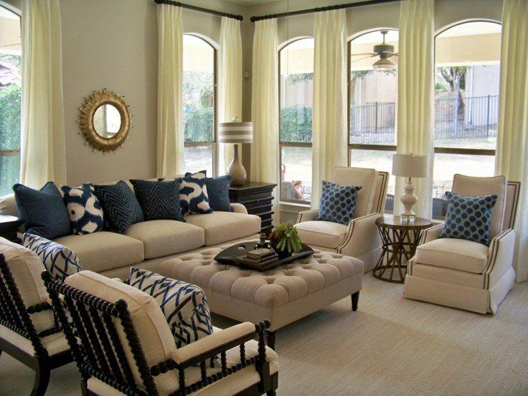 salon decorado modernos sillones beige cojines ideas
