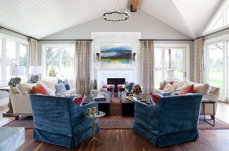 salon decorado modernos sillones llamativos ideas