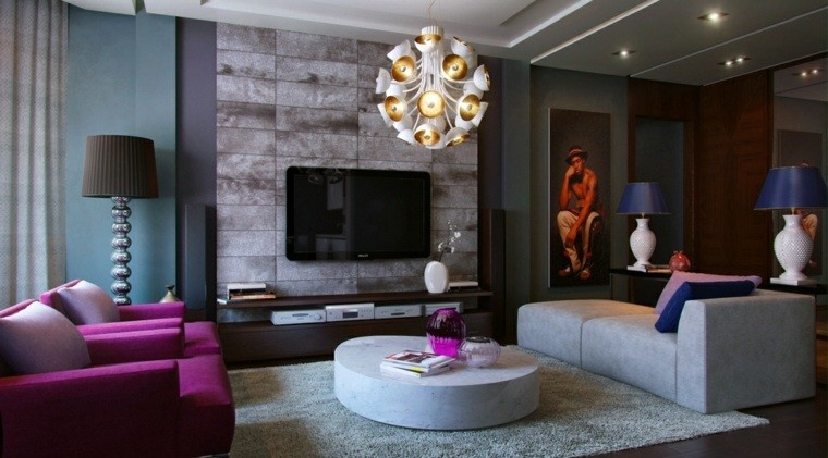 salon decorado modernos sillones purpura ideas