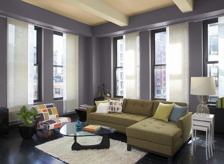 salon decorado modernos sofas verdes preciosas ideas