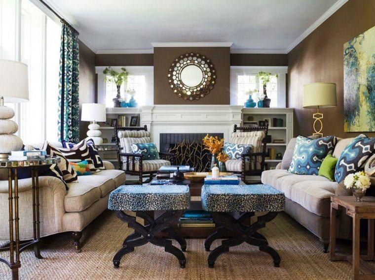 salon decorado modernos taburetes preciosos chimenes ideas