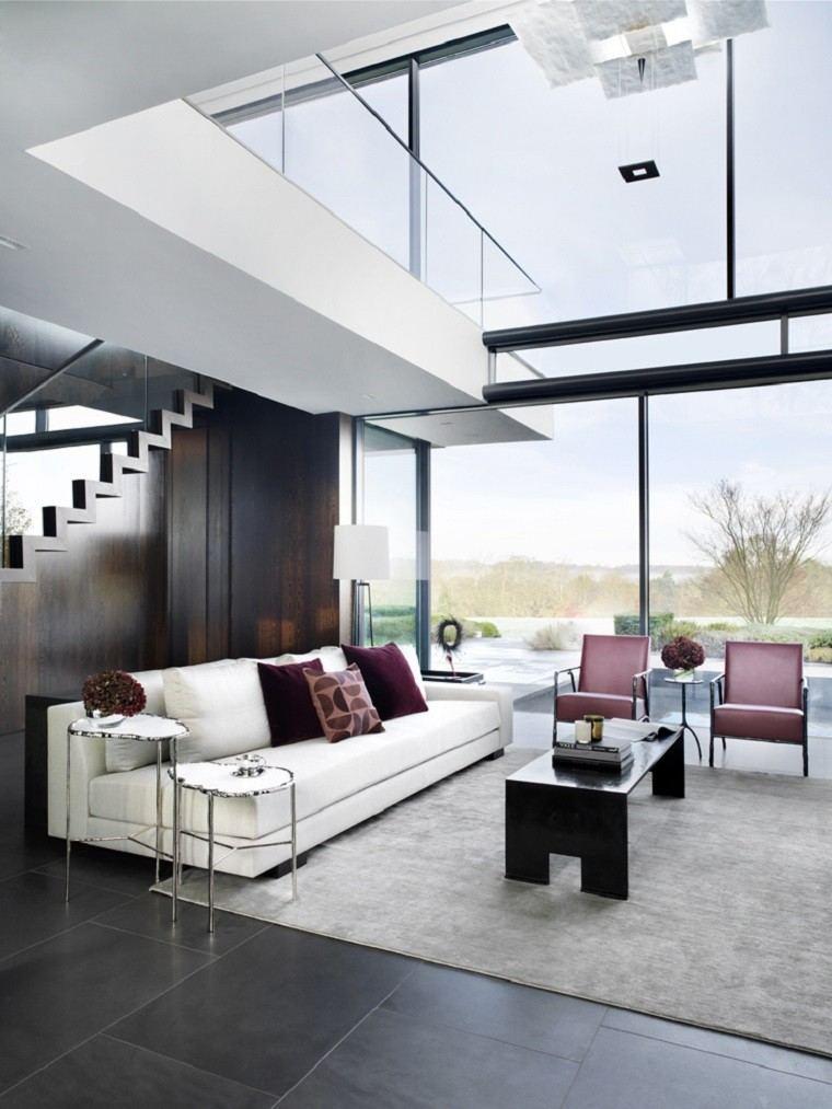 salon decorado modernos techo alto ventanales ideas