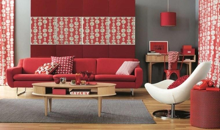 salon decorado modernos toques color rojo ideas