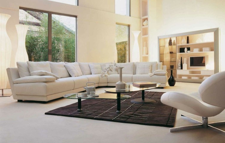 salones en blanco preciosos alfombra color marron ideas