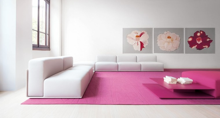 salones en blanco preciosos alfombra color purpura ideas