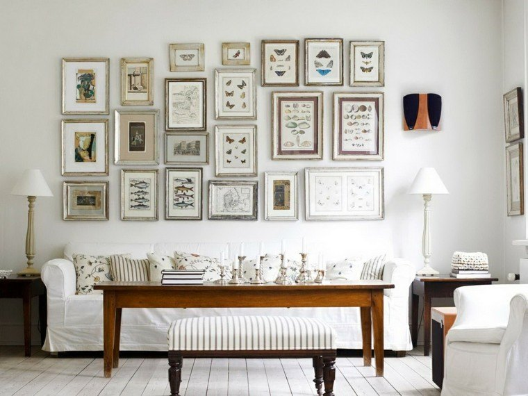 salones en blanco preciosos cuadros originales decorando pared ideas