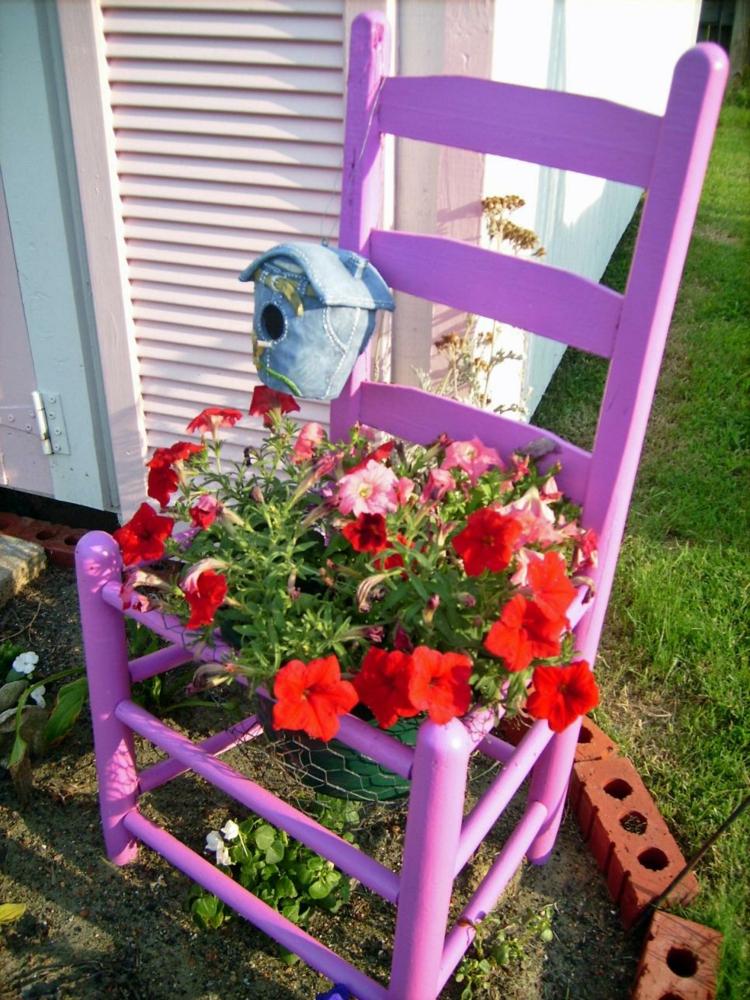salones sillas rosa pintada flores colores