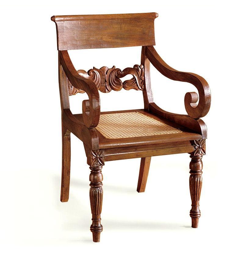 silla madera tallada estilo colonial