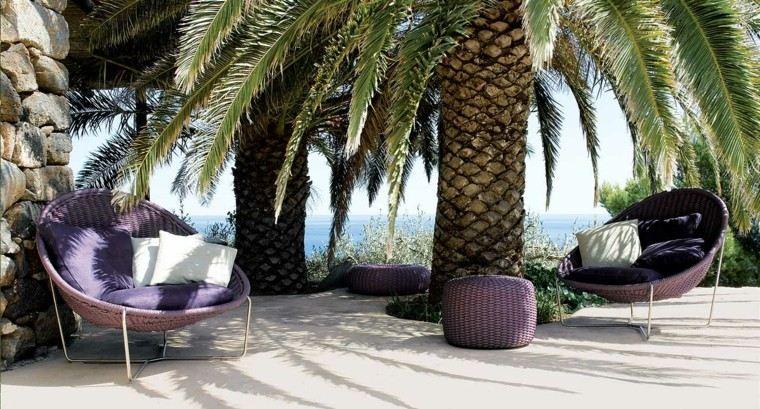 sillas color purpura jardin cojines colores ideas