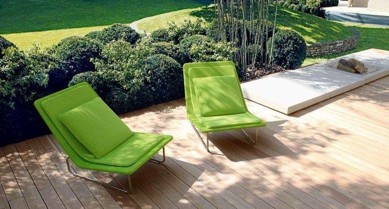 sillas verdes bonitas jardin moderno ideas