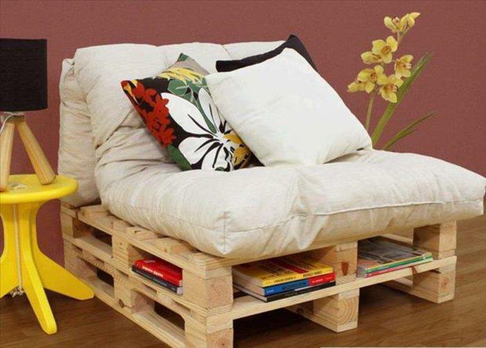 sillón acolchado diseñó pallet