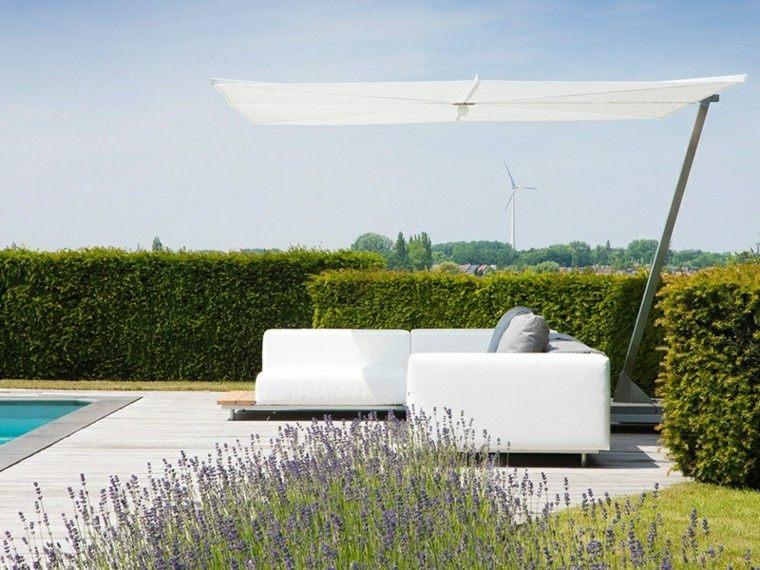 sofa blanca sombrilla jardin opciones ideas