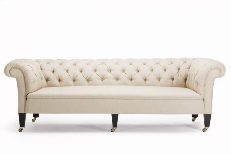 sofa Chester blanco estilo capitone