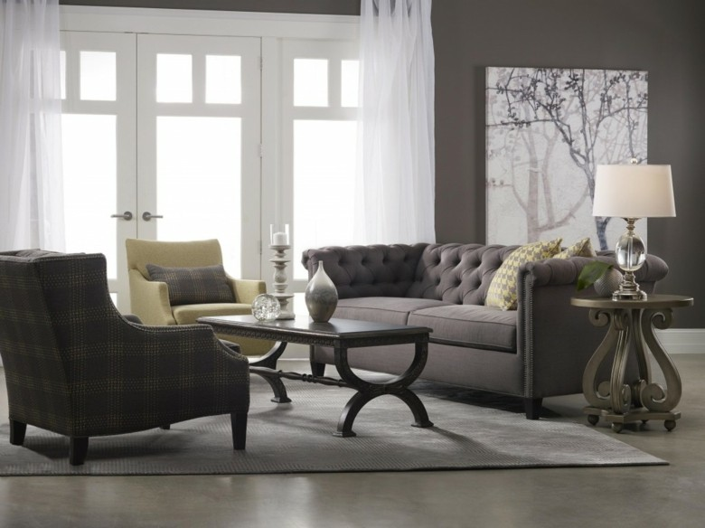 sofa Chester capitone color gris