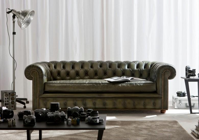 sofá Chester piel color verde