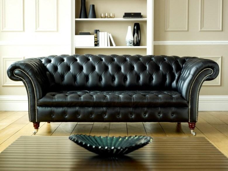 sofá Chester negro piel