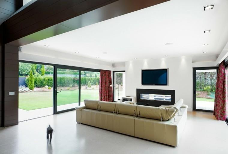 sofa cuero tele chimenea salon moderno ideas