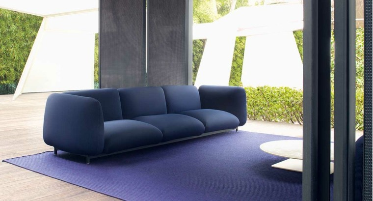 sofa exterior color azul elegante moderno ideas