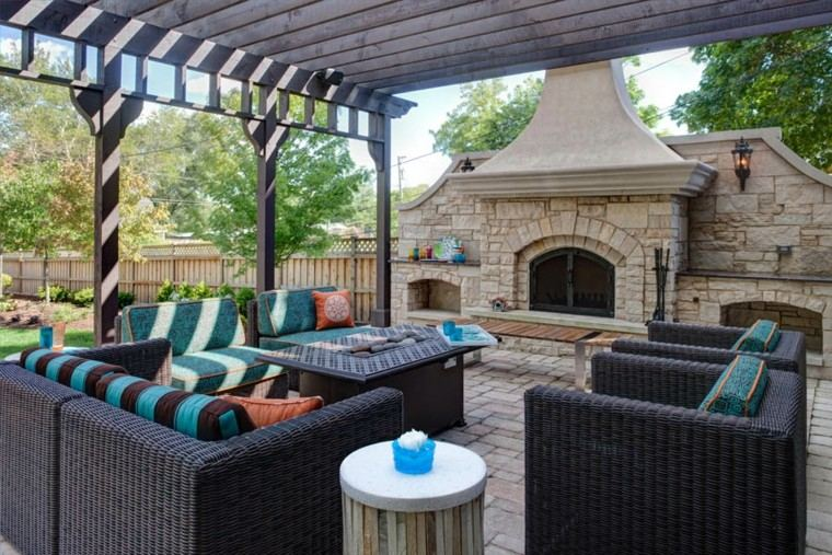 sofa exterior sillones preciosos chimenea pergola ideas