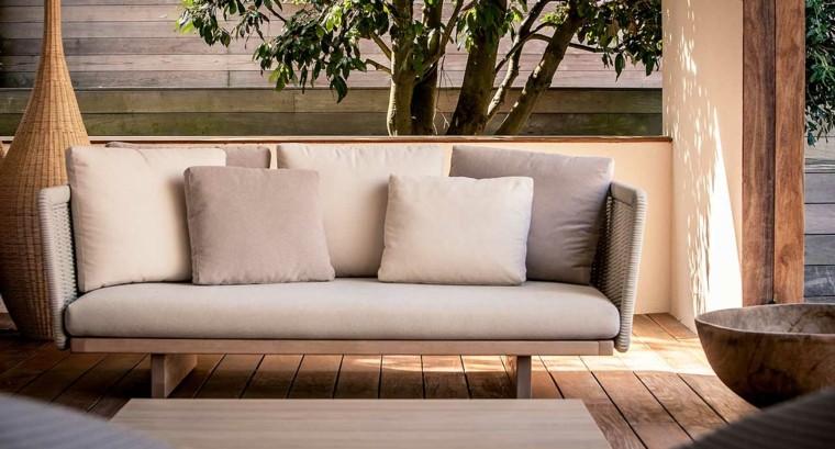 sofa madera rattan preciosa piscina jardin ideas