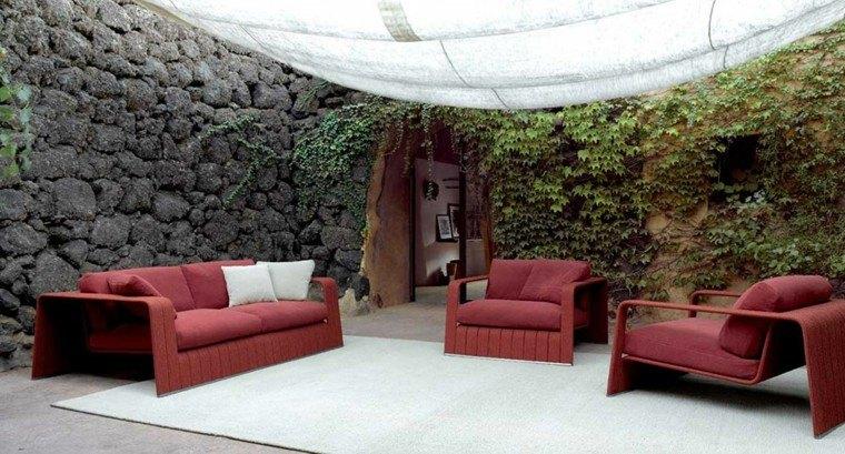 sofa roja sillones aire libre ideas