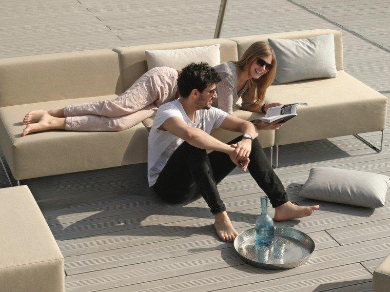 sofas aire libre comodas colores claros ideas