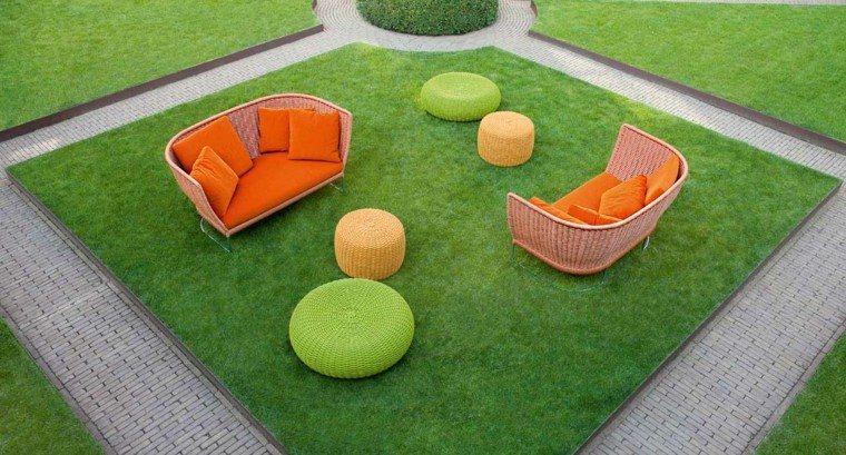 sofas rattan colores otomana alegres muebles ideas