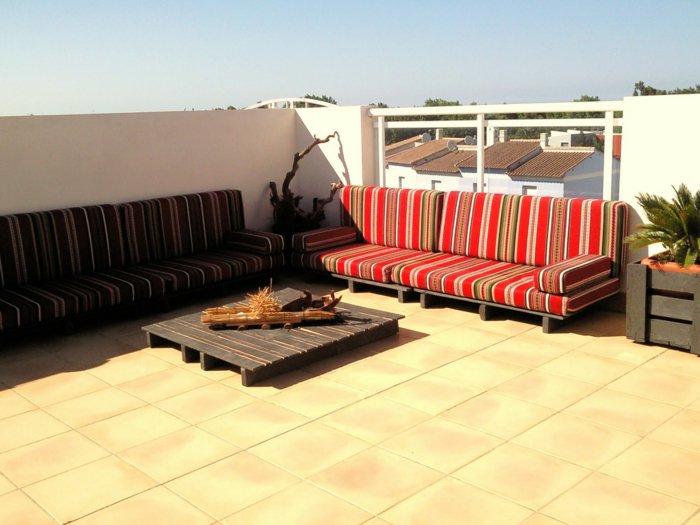 sofás terraza acolchados bandas