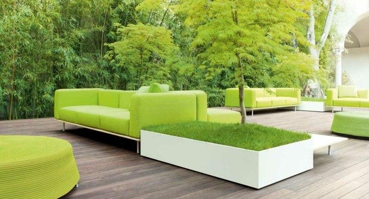 sofas verde jardines espacios verdes ideas