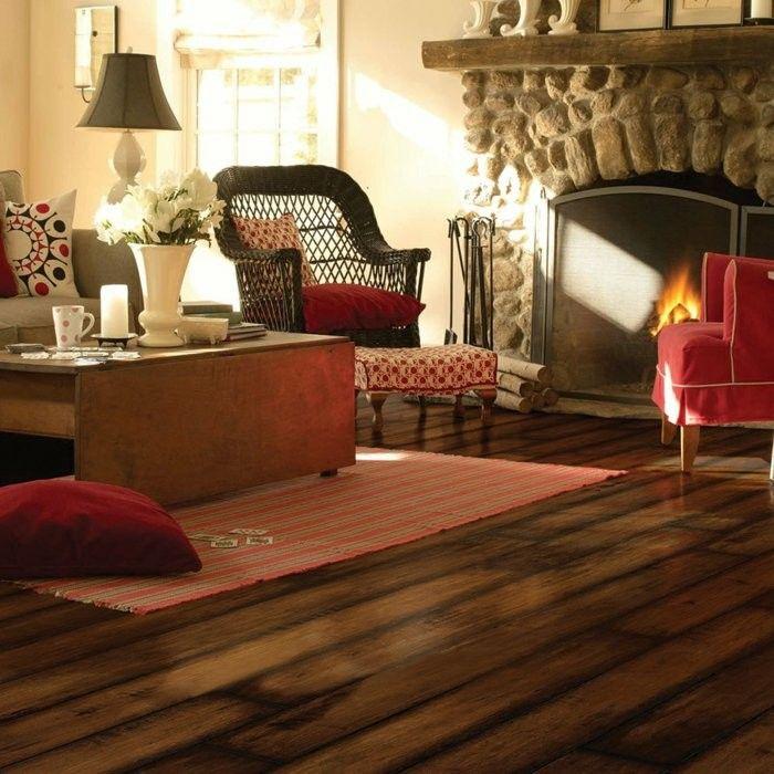 suelo madera laminada salon chimenea