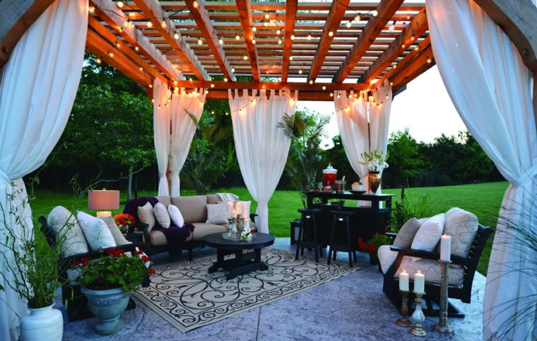 diseños telas para terrazas cortinas