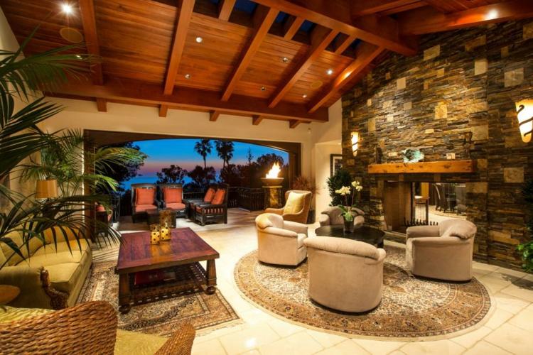 terraza abierta ideas salones flores alfombras