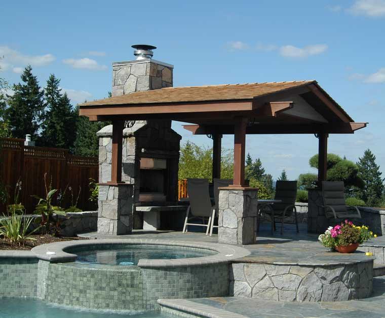 terraza cubierta pergola madera piedra