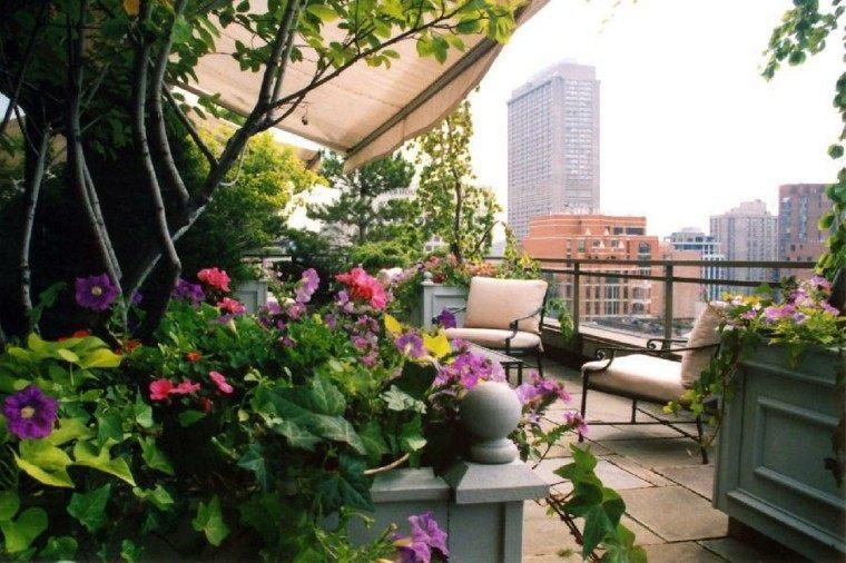 terraza decorada bonitas flores colores