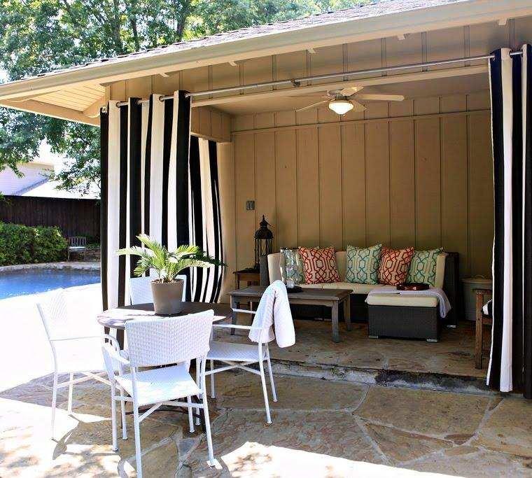 gazebo jardín cortinas rayas