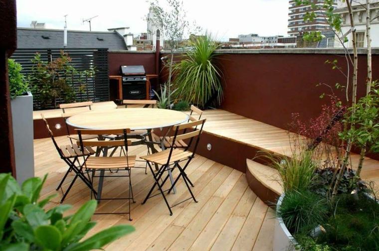 terraza madera barbacoa mesa comedor