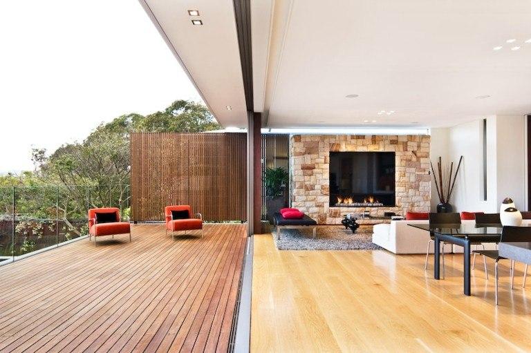 decorar terrazas moderna suelo maderra teca