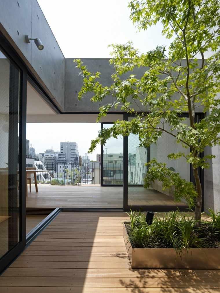 diseño terraza moderna suelo madera
