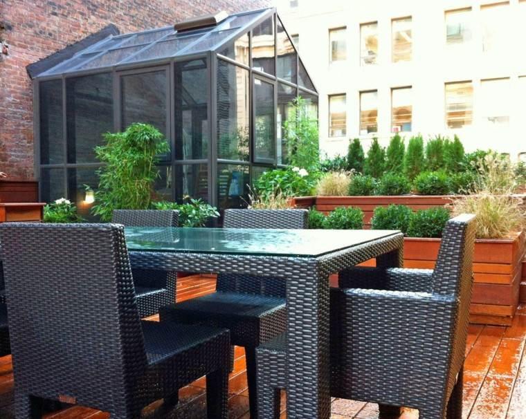 terraza moderna muebles mimbre