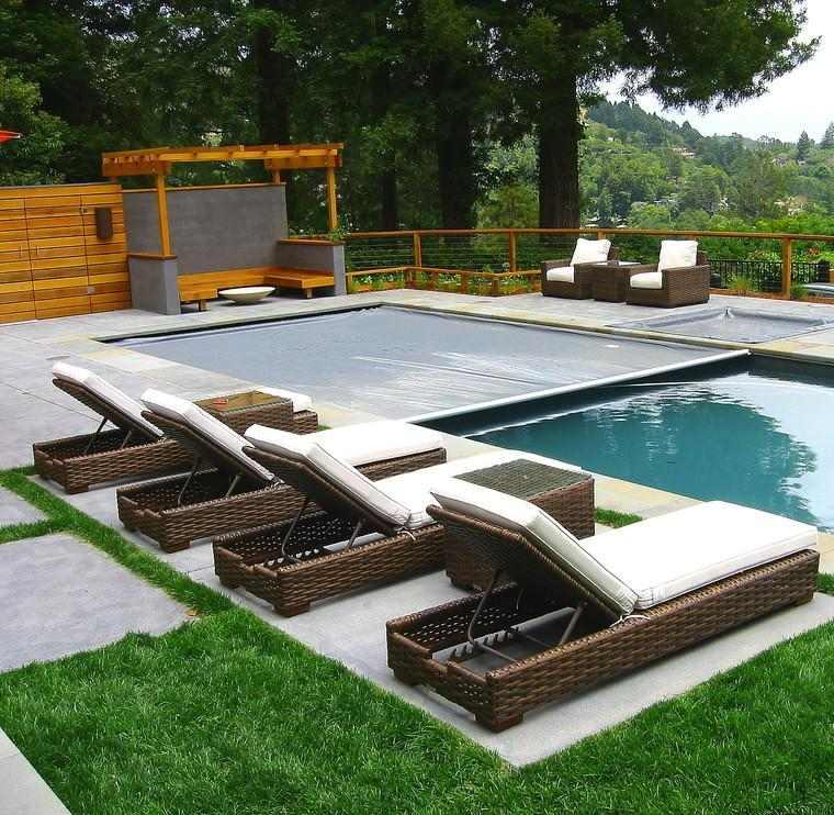 terraza moderna pérgola madera