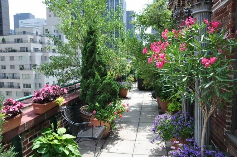 ideas originales terrazas decoraras muchas flores colores
